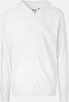Vit Ekologiska huvtröjor med blixtlås i unisexmodell med reklamtryck