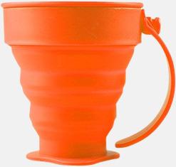 Orange Vikbara koppar i mjuk silikon med reklamtryck