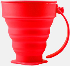 Röd Vikbara koppar i mjuk silikon med reklamtryck