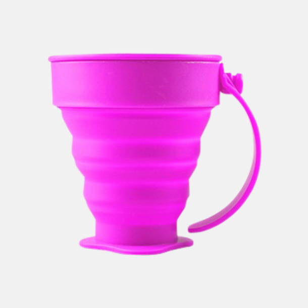Hot Pink Vikbara koppar i mjuk silikon med reklamtryck