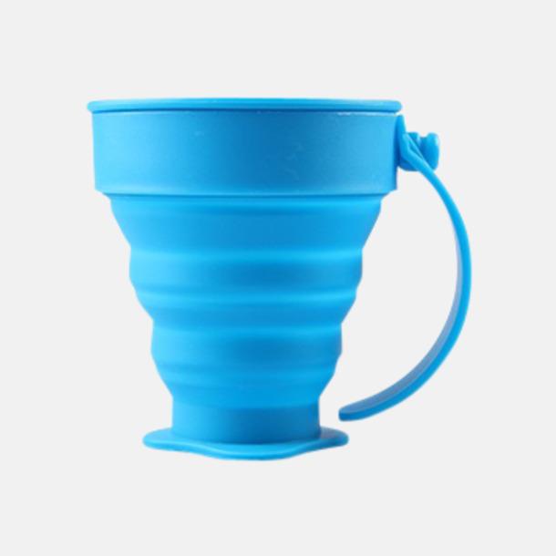 Blå Vikbara koppar i mjuk silikon med reklamtryck