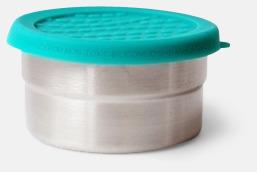 Silver / Turkos Läcksäkra snacksburkar i rostfritt stål med reklamlogo