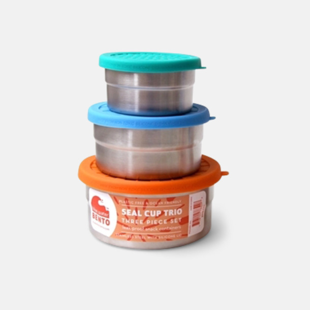 3-pack läcksäkra snacksburkar i rostfritt stål med reklamlogo