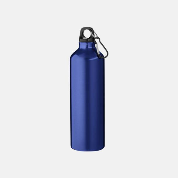 Blå Större sportflaskor med karbinhake - med reklamtryck