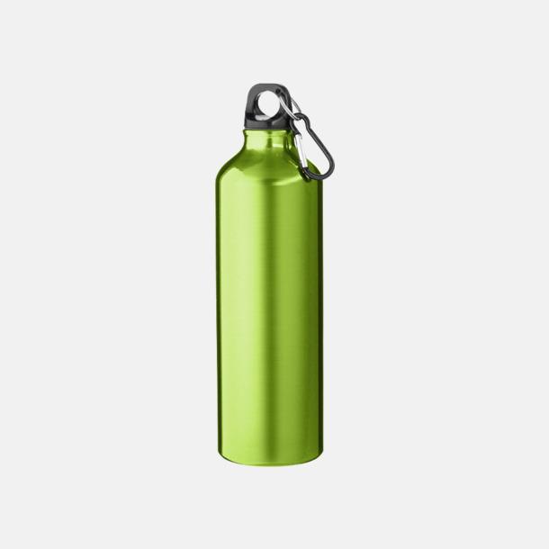 Grön Större sportflaskor med karbinhake - med reklamtryck