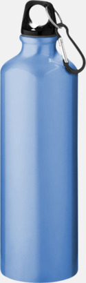 Ljusblå Större sportflaskor med karbinhake - med reklamtryck