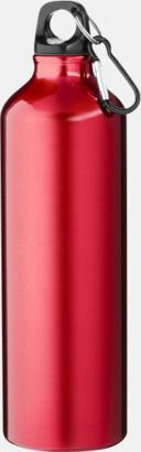 Röd Större sportflaskor med karbinhake - med reklamtryck