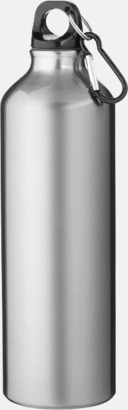 Silver Större sportflaskor med karbinhake - med reklamtryck