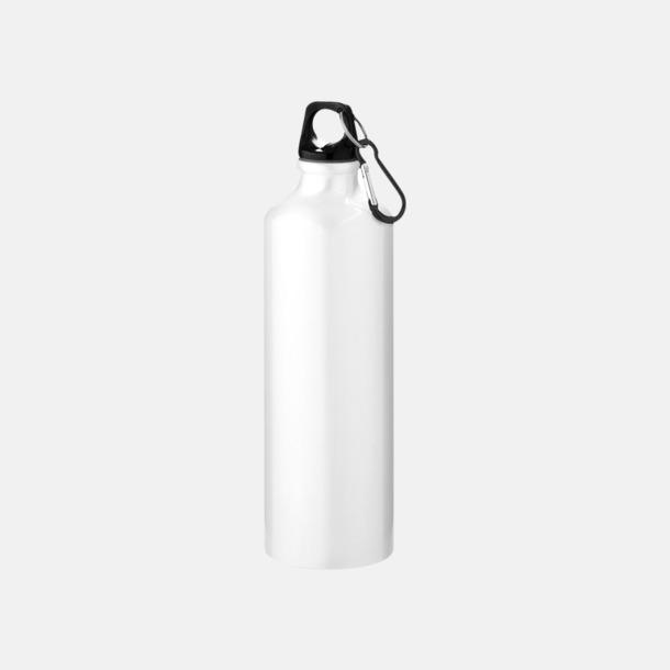 Vit Större sportflaskor med karbinhake - med reklamtryck