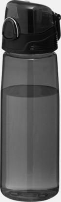 Transparent svart BPA-fria vattenflaskor med reklamtryck