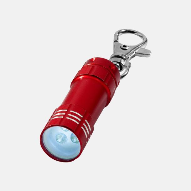 Röd Liten ficklampa med nyckelhake - med reklamtryck