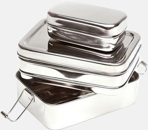 Silver 3-delade matlådor i rostfritt stål med reklamlogo