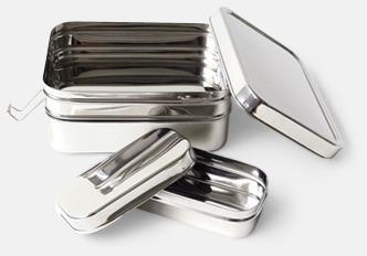 Silver Extra stora, 3-delade matlådor i rostfritt stål med reklamlogo