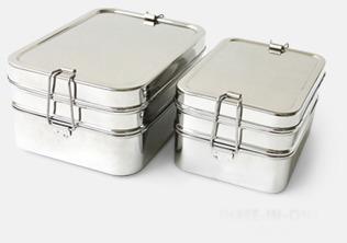 Extra stora, 3-delade matlådor i rostfritt stål med reklamlogo