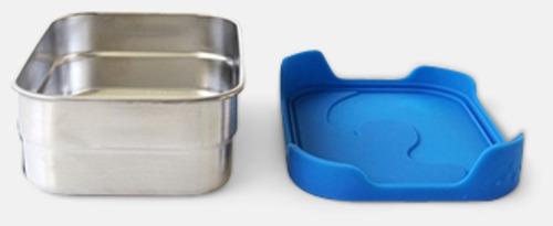Silver / Blå Läcksäkra matlådor i rostfritt stål med reklamlogo