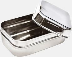 Silver Rektangulär liten tillbehörsburk i rostfritt stål med reklamlogo
