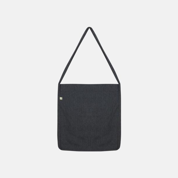 Melange Black Recycled sling tygkassar i woven twill med reklamtryck