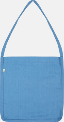Mélange Mid Blue Recycled sling tygkassar i woven twill med reklamtryck