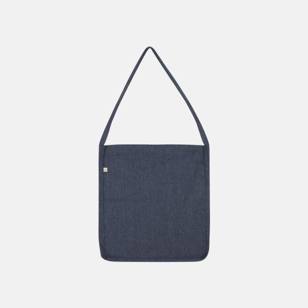 Melange Navy Recycled sling tygkassar i woven twill med reklamtryck