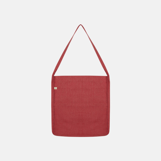 Melange Red Recycled sling tygkassar i woven twill med reklamtryck
