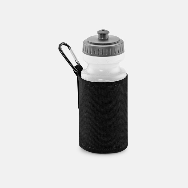 Svart Vattenflaska med hållare - med reklamtryck