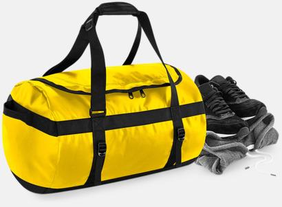 Stora, vattentäta väskor med reklamtryck
