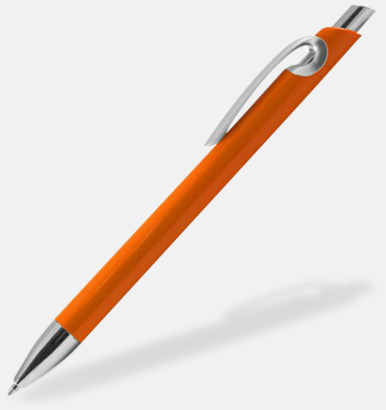 Orange Eleganta plastpennor med reklamtryck