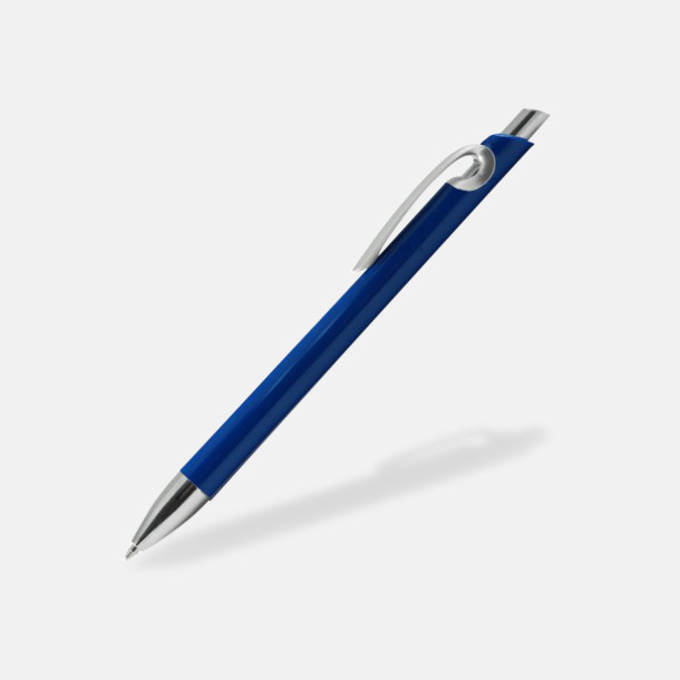 Blå Eleganta plastpennor med reklamtryck