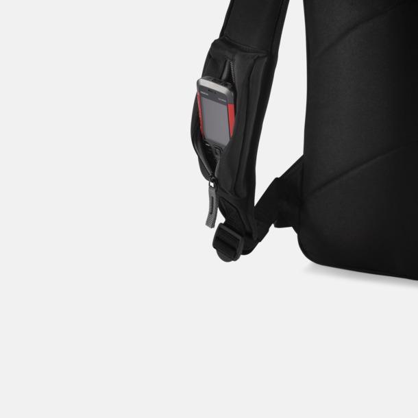 Mörka laptopryggsäckar med reklamtryck
