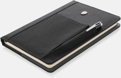 Svart Anteckningsbok med penna och mobilficka - med reklamtryck