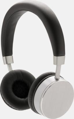 Silver / Svart Trådlösa stereohörlurar med reklamtryck