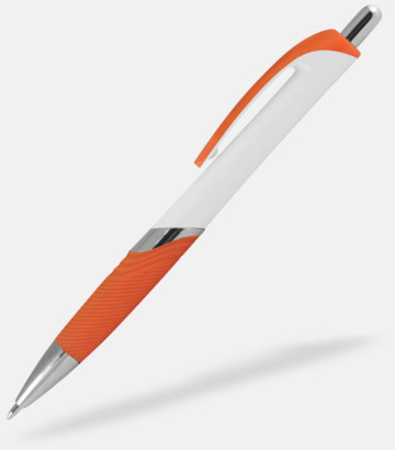 Vit / Orange Moderna bläckpennor med reklamtryck
