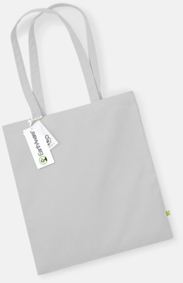 Ljusgrå Ekologiska bomullspåsar med reklamtryck