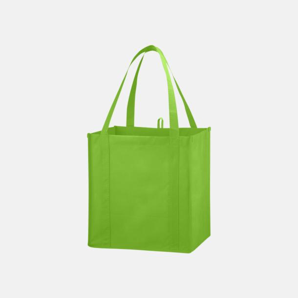 Limegrön Stora non woven-kassar i många färger med reklamtryck