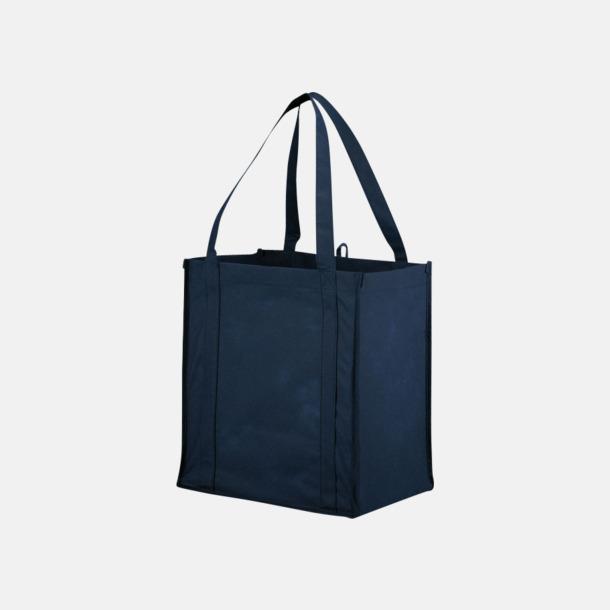 Marinblå Stora non woven-kassar i många färger med reklamtryck