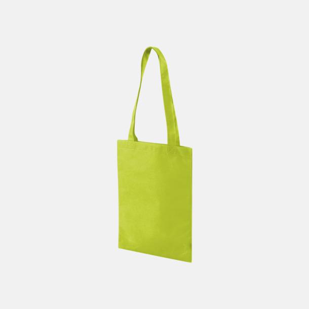 Limegrön Non woven-kassar i mindre format med reklamtryck