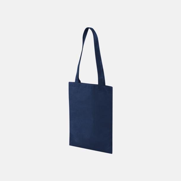 Marinblå Non woven-kassar i mindre format med reklamtryck