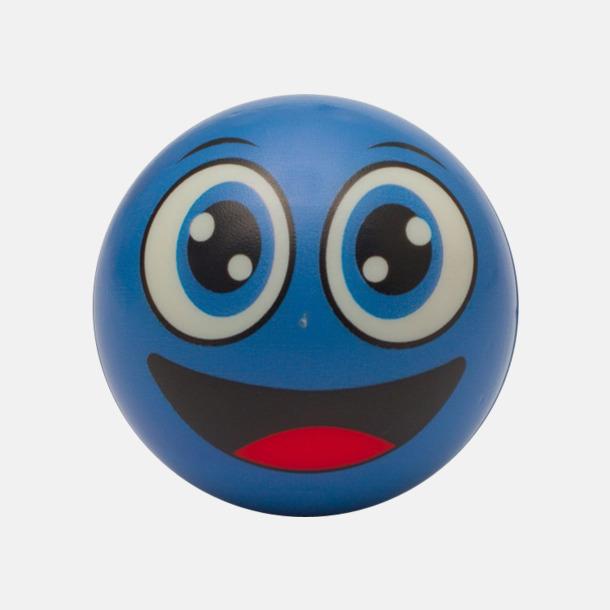 Blå Glada stressbollar med reklamtryck