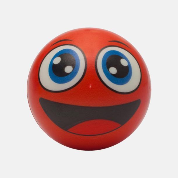 Röd Glada stressbollar med reklamtryck