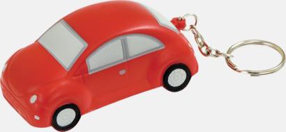 Röd Bilformade stressbollar med nyckelring - med reklamtryck