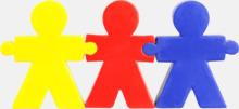 Girlangformade figurer som är stressbollar med reklamtryck