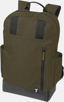 """Olivgrön 15,6"""" datorryggsäck från Tranzip med reklamtryck"""