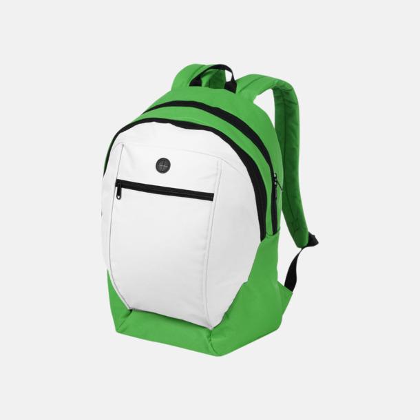 Vit / Grön Ryggsäckar med reklamtryck eller -brodyr