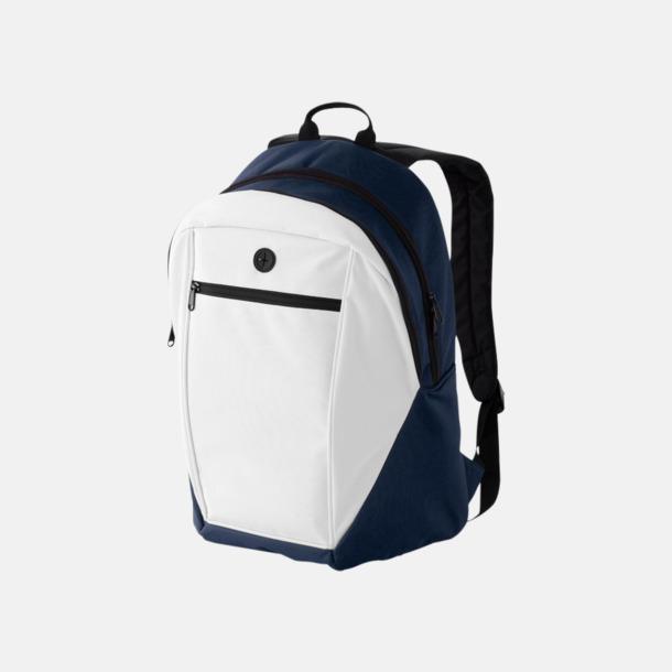 Vit / Marinblå Ryggsäckar med reklamtryck eller -brodyr