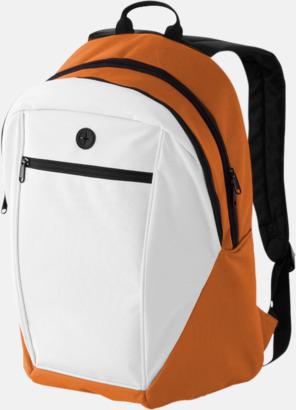 Vit / Orange Ryggsäckar med reklamtryck eller -brodyr