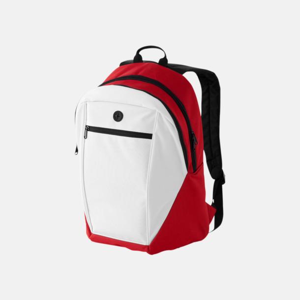 Vit / Röd Ryggsäckar med reklamtryck eller -brodyr