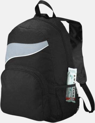 Svart / Grå Billiga ryggsäckar ned vågaccent - med reklamtryck