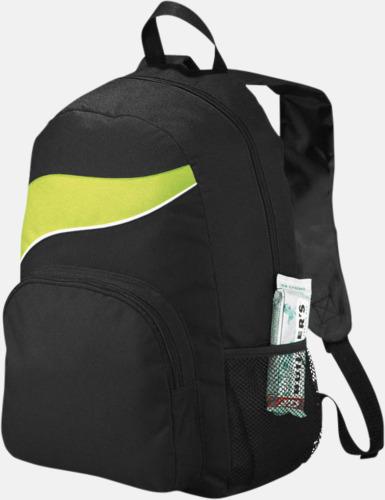 Svart / Limegrön Billiga ryggsäckar ned vågaccent - med reklamtryck