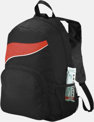 Svart / Röd Billiga ryggsäckar ned vågaccent - med reklamtryck