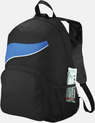 Svart/Royal Billiga ryggsäckar ned vågaccent - med reklamtryck